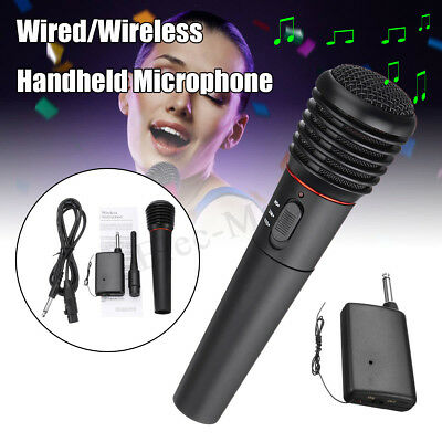 Wired Wireless 2in1 Handheld Microphone Mic Receiver System Undirectional MO
