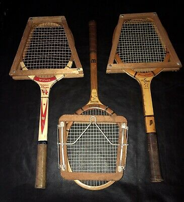 Vintage Lot Of 3 Antique Wood Tennis Rackets, Wilson And Pennsylvania-With Press