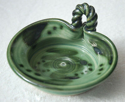 HAND MADE STONEWARE CLAY SPOTTED GREEN SHARING TRINKET SOAP BOWL DISH 13.5x11cm
