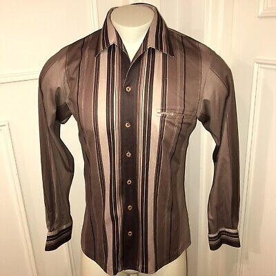 Groovy Vtg 60s 70s Brown SPIRE Mens MEDIUM Polyester DISCO Button shirt L/S Mod