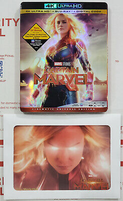 CAPTAIN MARVEL (2019) 4K Ultra HD Blu-ray Disc Only w/ Slipcover & Lithograph