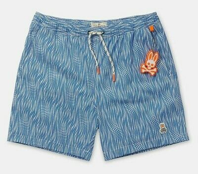 5a446ca318 PSYCHO BUNNY MEN'S Campanula Blue Printed Swim Trunks - $59.99 ...