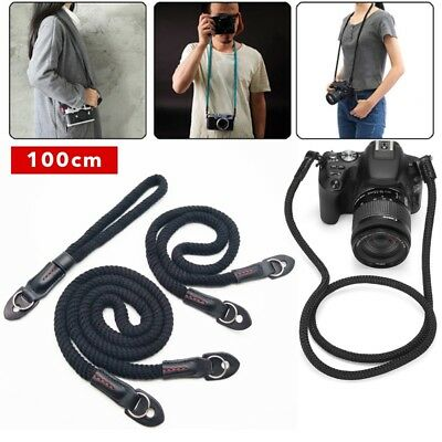 Camera Strap Black Rope Shoulder Neck Strap Handmade For Leica / Sony 100cm CY