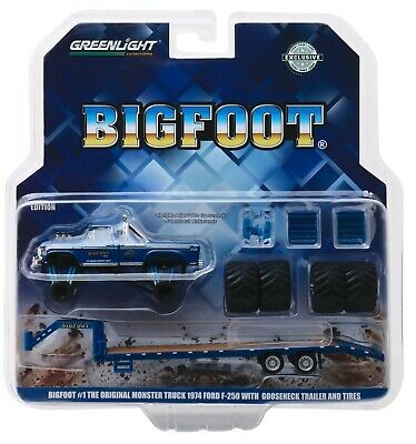 1:64 GreenLight *BIG FOOT MONSTER TRUCK* 1974 Ford F250 & GOOSENECK TRAILER NIP!