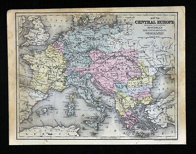1888 Mitchell Map Central Europe France Germany Austria Hungary Italy Greece
