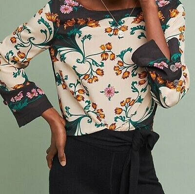 Maeve Florence Silk Top Size 8 Petite Multi-Color NW ANTHROPOLOGIE Tag