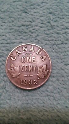 1932 Canada One 1 Cent George V Penny Coin Circulated