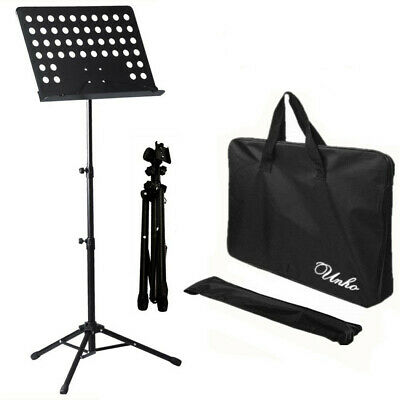Height-adjustable Sturdy Music Stand Holder Base Foldable with Black Carry Bag