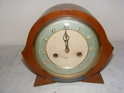 VINTAGE MANTLE CLOCK SMITHS ENFIELD ART DECO DESIGN 1950's WORKING STRIKING
