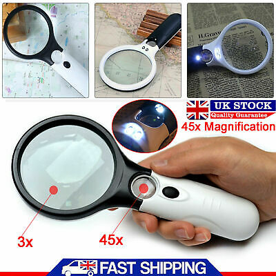 45X Handheld Magnifier Reading Large Magnifying Glass Jewelry Loupe 3 LED Lights