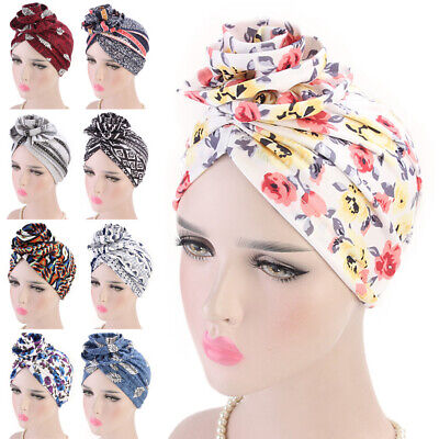 Women Stretchy Turban Head Wrap Band Chemo Hijab Pleated Flower Indian Cap Hat