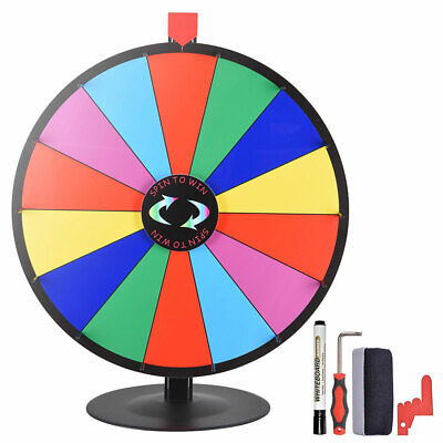 """UK STOCK Tabletop 24"""" Color Dry Erase Prize Wheel Stand Fortune Spinning Game"""
