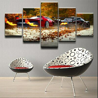 Supercar Vehicle Behind Painting Modern Canvas Picture Art  Wall Home Decor