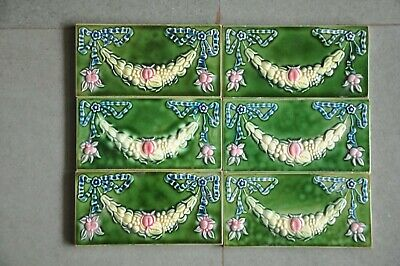 6 Pc Vintage Majolica D.K Decorative Flower Art Nouveau Architecture Tiles,Japan