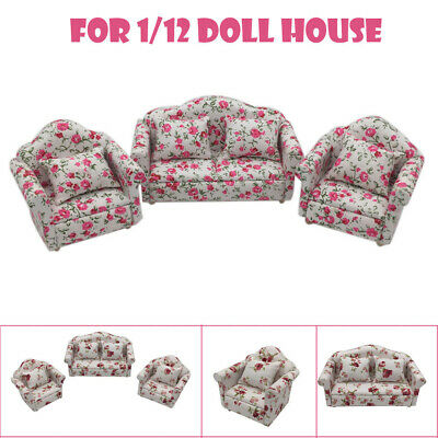 Mini Dollhouse Furniture Sofa Set Miniature Living Room Kids Pretend Play Toy