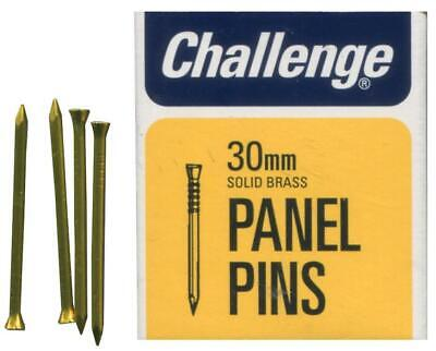 """1 1/4"""" (30mm) Solid Brass Panel Pins, 30g Pack - CHALLENGE 10622"""
