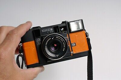 Konica C35 AF 35mm film format Point & shoot camera - CUSTOM ORANGE leather!