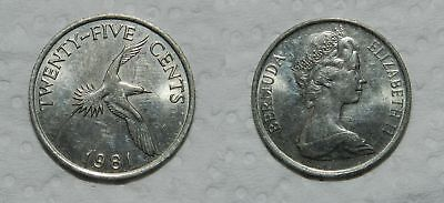 BERMUDA 25 CENTS 1981 - Fully Lustrous EF