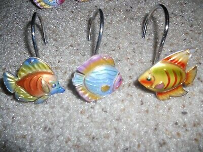 Tropical Fish Resin Shower Curtain Hooks Set PHP-F//ASST