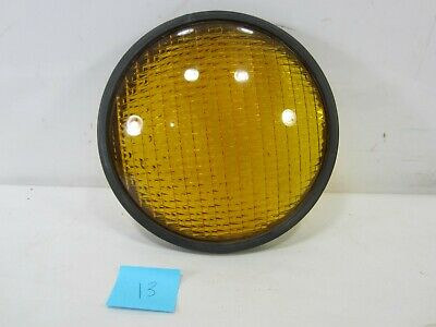 "Vintage Crouse-Hinds Type T-3 Yellow Glass 8 3/8"" Traffic Lens w/Gasket  #13"
