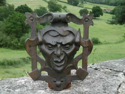 SUPERB 19thc PIERCED GOTHIC OAK 'FRAMED' CARVING WITH DEVILISH HEAD C. 1860