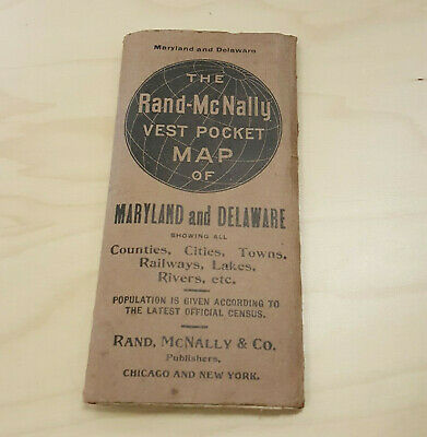 Maryland DC Delaware Rand McNally Indexed Pocket Maps Railroad Guide 1909