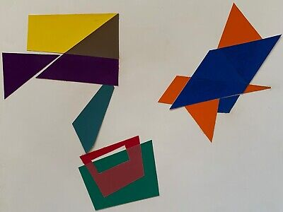 Vintage Geometric Shapes Paper Art Collage Wall Hanging Mid Century Modern - 7