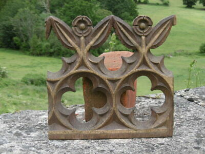 SUPERB 17thc GOTHIC OAK CHURCH FRAGMENT CARVING WITH ORIG GILDED DETAIL C.1650's