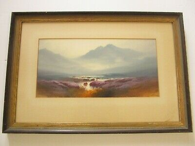 G Miller Antique Painting Sunset Sunrise Mountain Tranquil Stream Tonalism Old