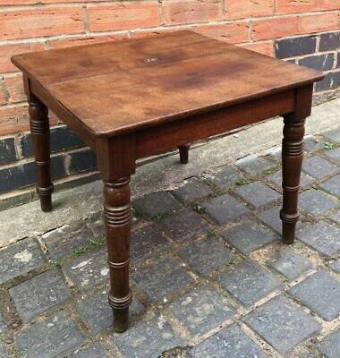 Original Antique 19th Century Solid Mahogany Side Table Turned Legs