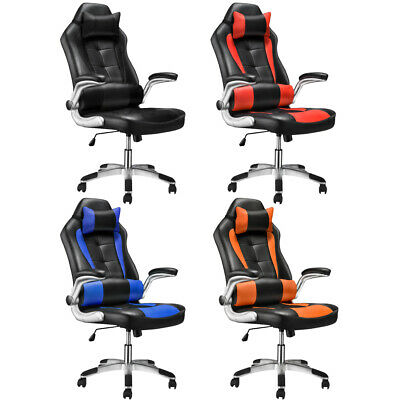 High Back Office Chair Racing Sport PU Leather 360° Swivel Chair Lumbar Support