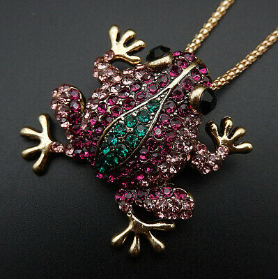 bf24c2c94 Women's Pink Green Crystal Cute Frog Pendant Betsey Johnson Necklace/Brooch