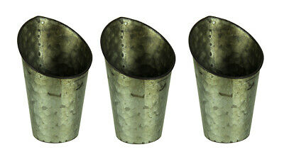 Rustic Tin Circular Angled Front Wall Pocket Planter Set of 3