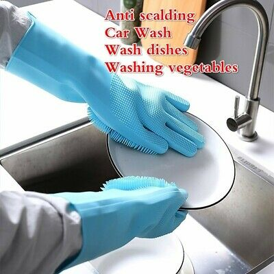 Magic Silicone Rubber Dish Washing Gloves 2 in1 Scrubber Cleaning Scrubbing