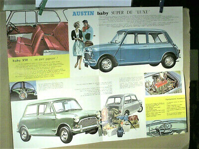 BEAU CATALOGUE/AFFICHE dépliable MINI  AUSTIN BABY 850  1960's french édition