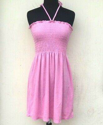 664802a54e5bf Nwt $118 Juicy Couture Bikini Baby Pink Smocked Beach Cover Up Dress Xs