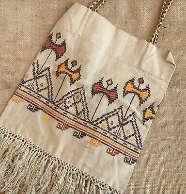 Antique 1910s-1920s Embroidered Fringed Bag..Arts & Crafts
