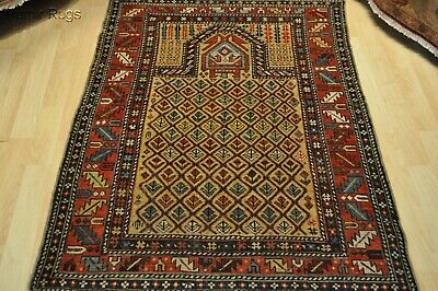 "Marasali rug19th century 3'4""x4'7"" Collectable Caucasian Prayer rug Merasli"