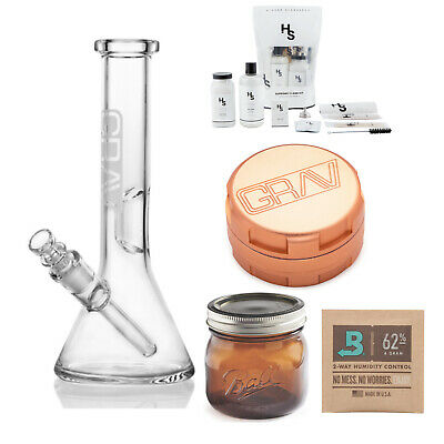 GRAV Beaker Base Water Pipe (Small) with 3-Piece Grinder (Rose Gold) Bundle