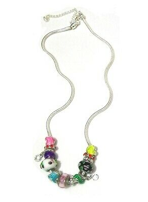 Silver Multi Colour Charm Bead Crystal Heart Pear Necklace Chain Women Girls UK