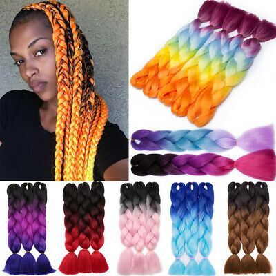 Real Jumbo Braiding Hair Extension Ombre Xpression Twist Braids Any Colors 24""