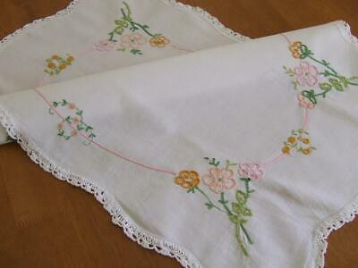 Very Large Vintage Centrepiece Mat - Hand Embroidered Floral - Crocheted Edging