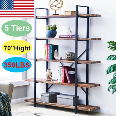5 Tier Wood Bookcase Wall Shelf Ladder Bookshelf Storage Display Rack Home Offic