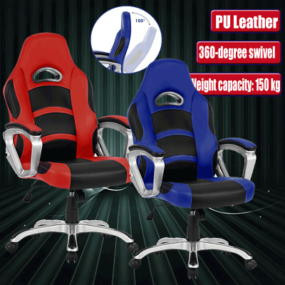 PU Leather High Back Sport Gaming Racing Seat Office Computer Chair Work Seat AU