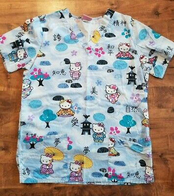 8c34be479ae ASIAN HELLO KITTY Chinese SCRUB TOP cat kitten Peds Nurse CNA VET uniform S  42