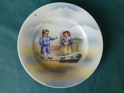 """Antique Germany """"The Regatta"""" Childrens Toy Plate"""