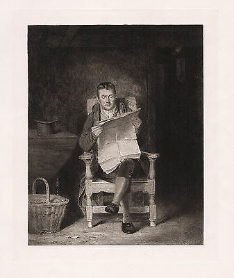 "Strong Thomas Sword Good 1800s Etching ""Man Reading the News"" SIGNED Framed COA"