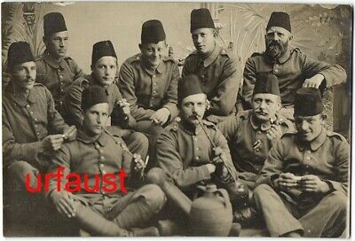 German WWI Soldiers with Fez Arming Cap Photo 1916