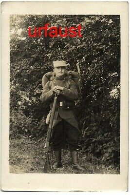 French WWI Soldier Lebel Rifle Full Gear Photo