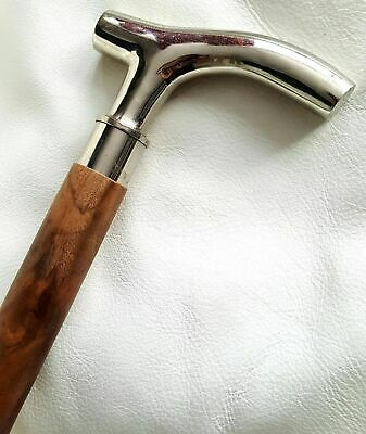 Classic Style Silver Brass Design Handle Antique Brown Wooden Walking Stick Cane